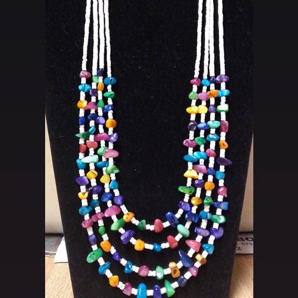 Multi-colored Bead and White Shell Necklace